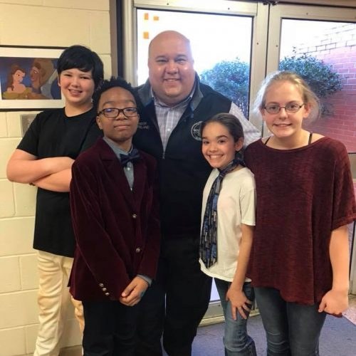 Mayor F.L. Bubba Copeland invited to the Black History Month living wax museum at elementary school